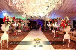 decoration, walkway decor, console tables, chandeliers, imported flowers, hanging garden