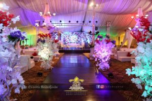 barat setup, wedding decor, wooden walkway, area decor