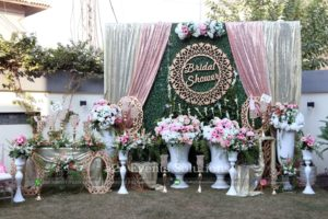 grand bridal shower stage, imported flowers decor