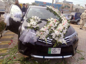 wedding car decor, car decorators in lahore