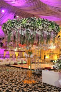 hall decor, area decor, hanging garden, imported and fresh flowers