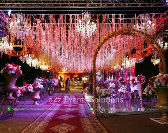 grand wedding entrance, imported and fresh flowers decor