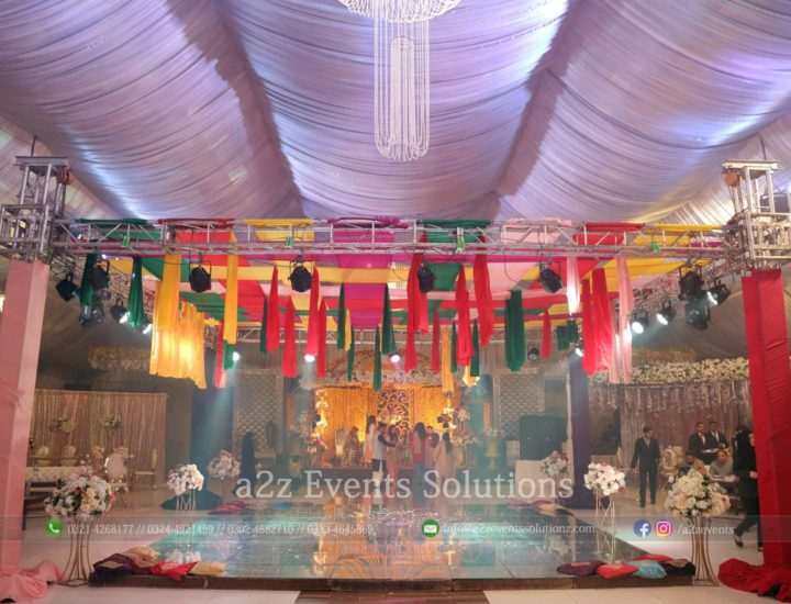 colourful mayoun decor, wedding setup, truss service providers, vip glass dance floor