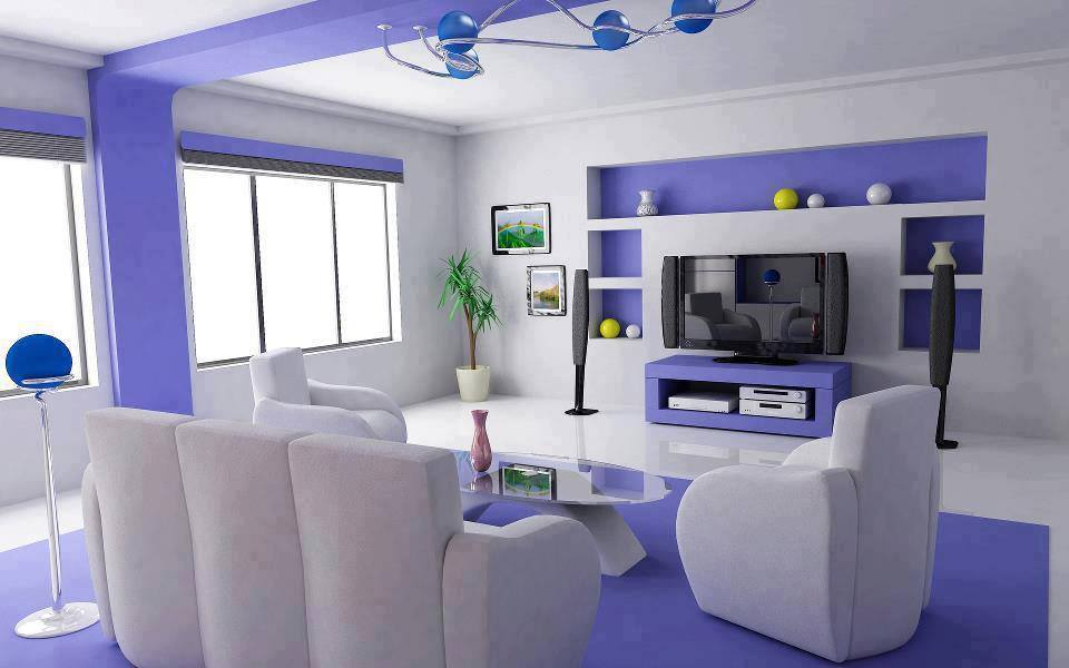 tv lounge interior design, white and blue tv lounge theme