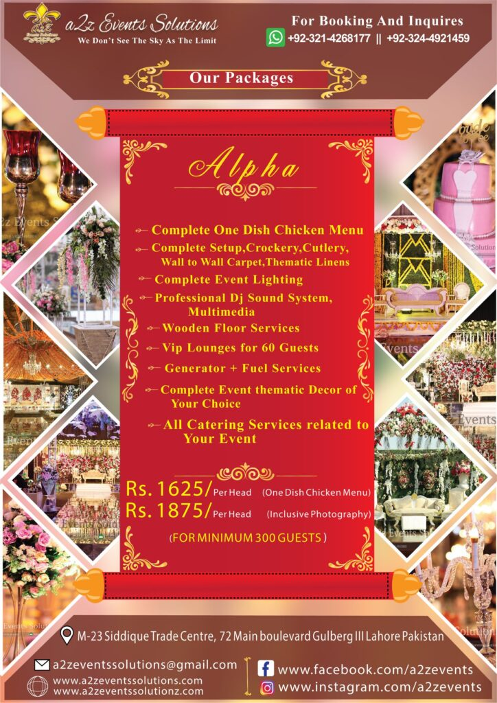 wedding packages, wedding package, wedding planner in lahore, wedding designer, weddings, wedding package with one dish chicken menu