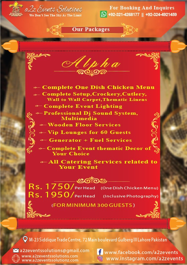 a2z alpha package, wedding packages,