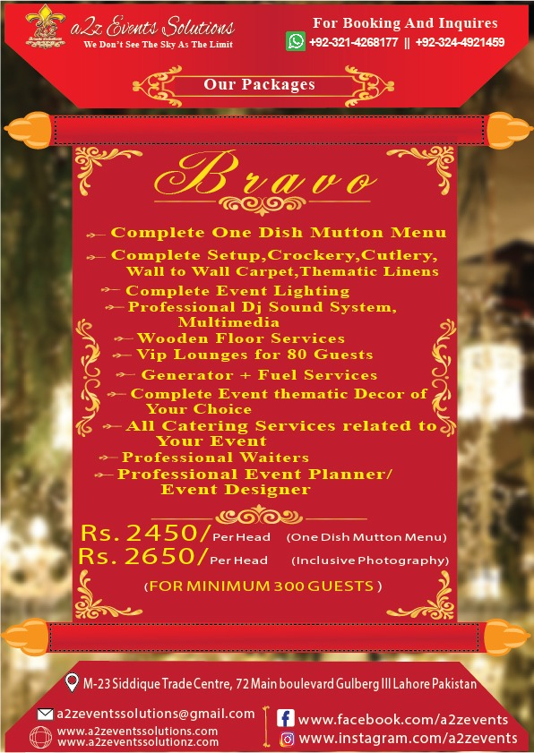 a2z Bravo package, wedding packages, wedding packages pakistan