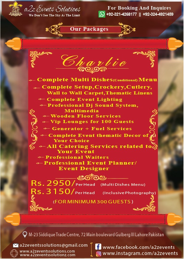 a2z Charlie Package, Wedding Package with multi dishes, wedding package , catering packages