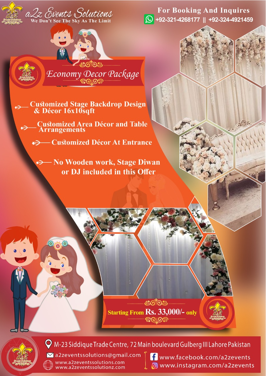 Economy package, wedding economy package, economy decor package