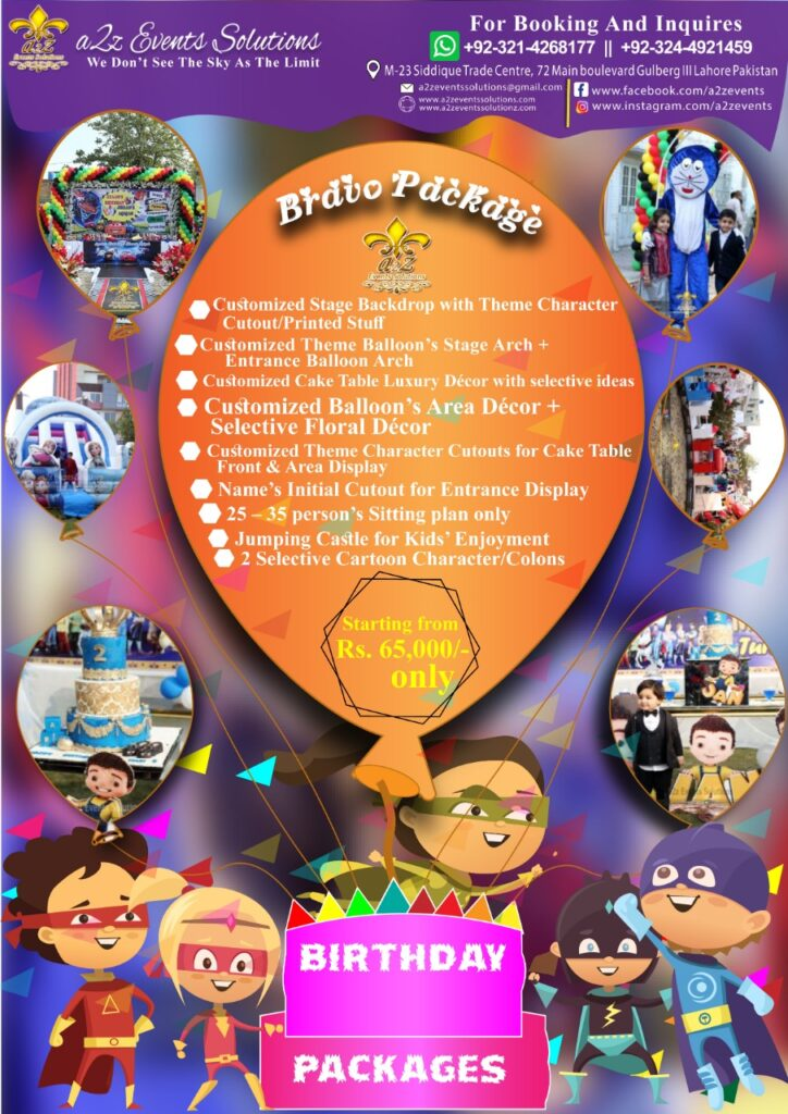 birthday package, bravo package, birthday decor packages, birthday decoration cost