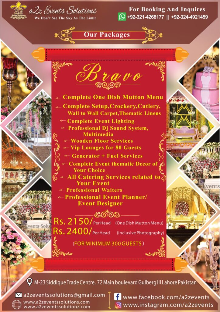 wedding planner prices in lahore, weddin planner in lahore, Wedding packages with mutton menu