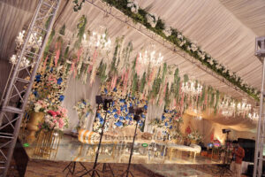 grand stage, imported flowers