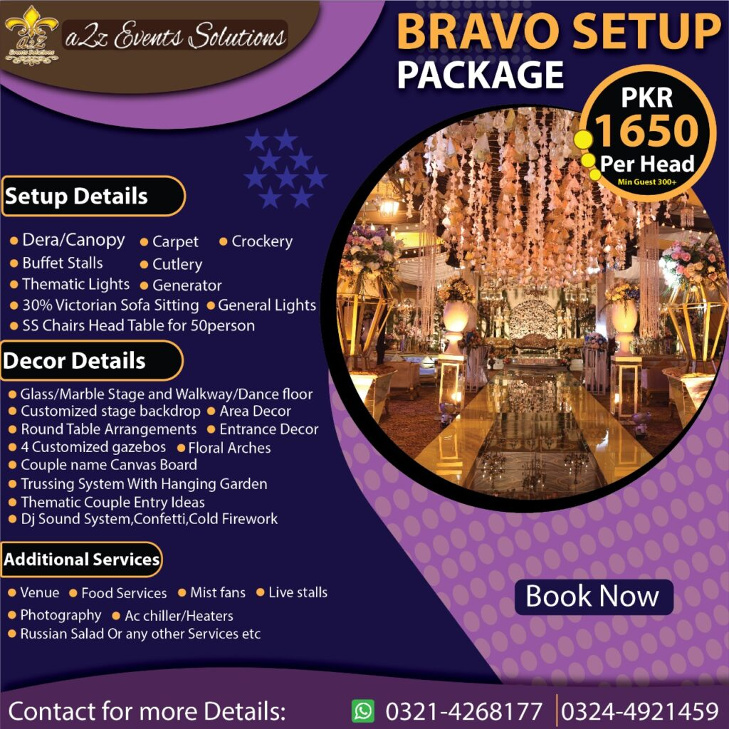 bravo setup package, bravo setup package with decor, wedding packages without food