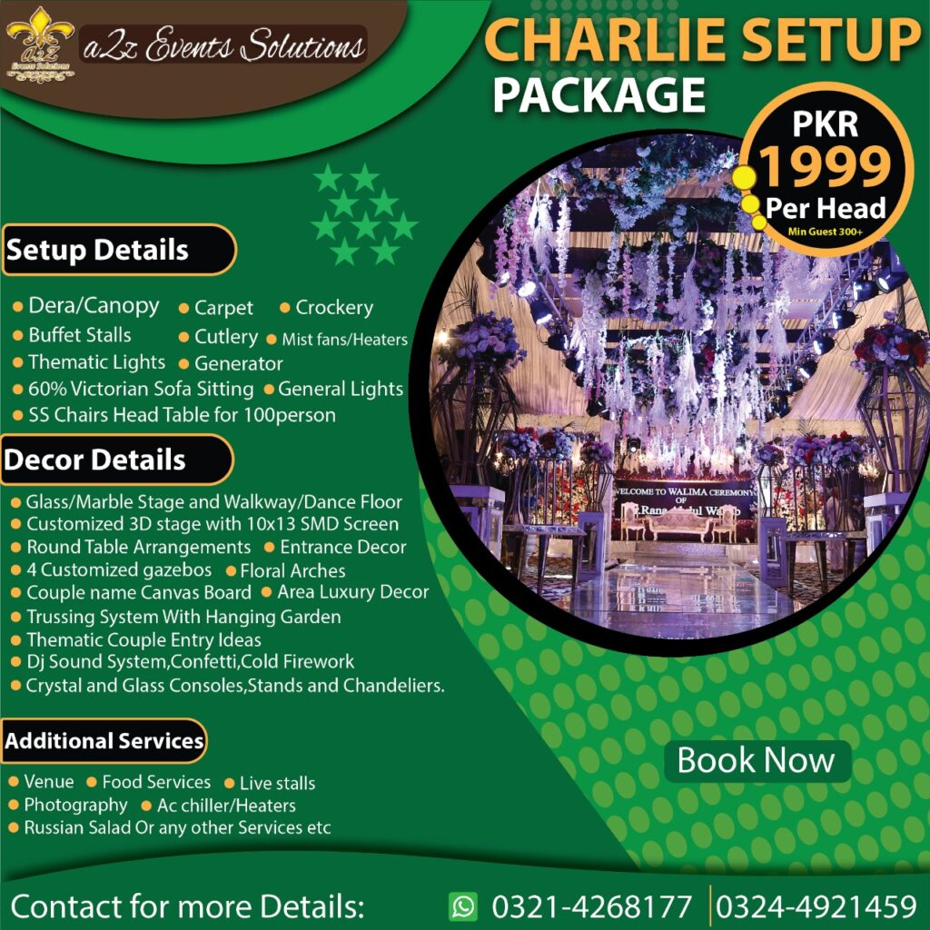 charlie setup package, wedding packages without food, wedding packages with vip decor