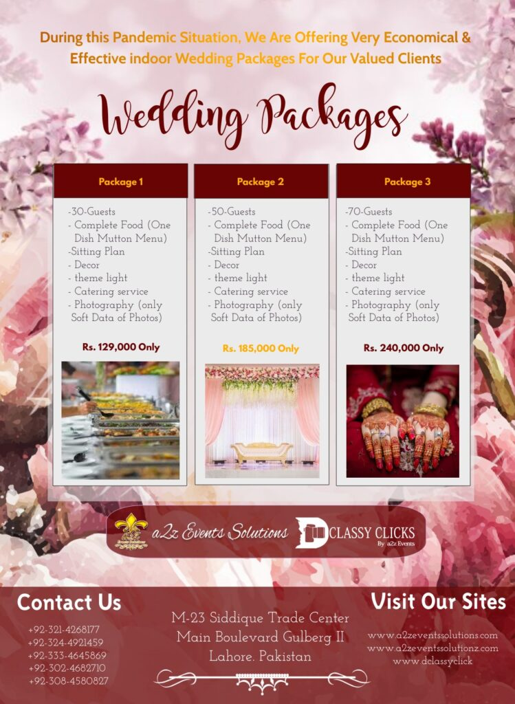 covid wedding packages, economical wedding packages with food, covid home based wedding packages with food