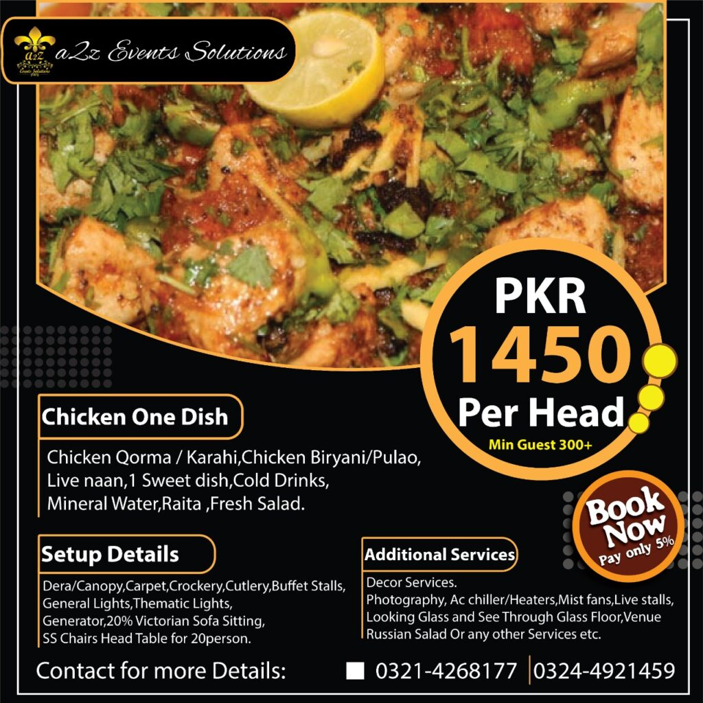 wedding setup with food packages, wedding packages with one dish chicken menu