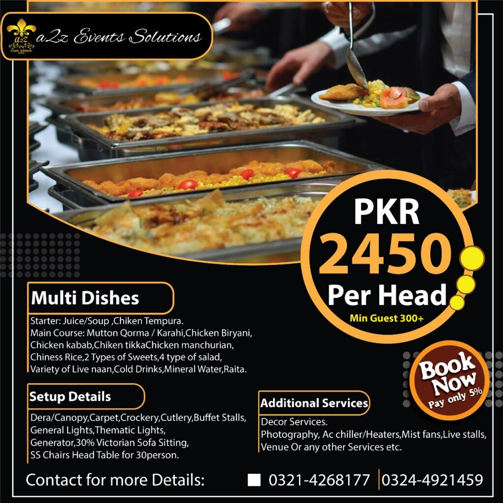 multi dishes package without decor, without decor wedding packages , wedding packages with food